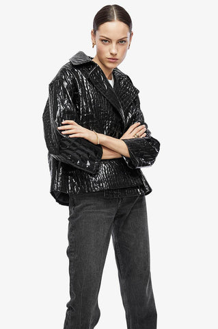Anine Bing LIZA JACKET IN BLACK CROCO