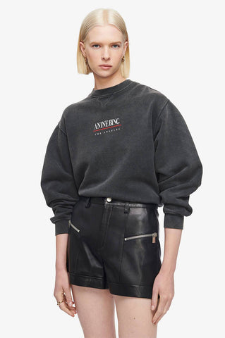 Anine Bing RAMONA SWEATSHIRT LINK IN WASHED BLACK