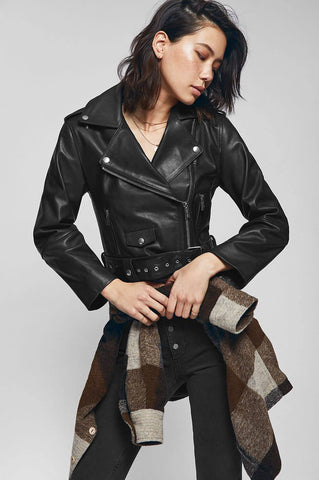 Anine Bing REMY LEATHER JACKET IN BLACK
