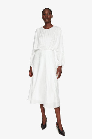 Anine Bing SERENA DRESS - WHITE JACQUARD