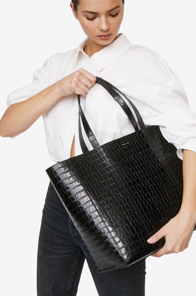 Anine Bing CROCO TOTE IN BLACK
