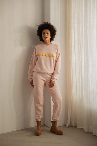 Ragdoll HIGH WAISTED JOGGER WITH TERRY PATCH Light Pink