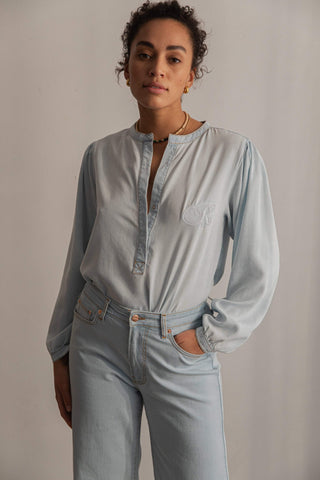Ragdoll DENIM BLOUSE WITH EMBROIDERY Faded Blue