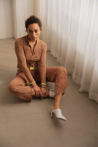 Ragdoll KNIT FLARE PANT Rust with Yellow Contrast