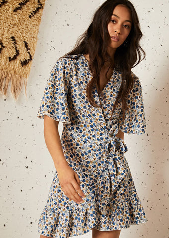 Ghospell Marigold Mini Wrap Dress