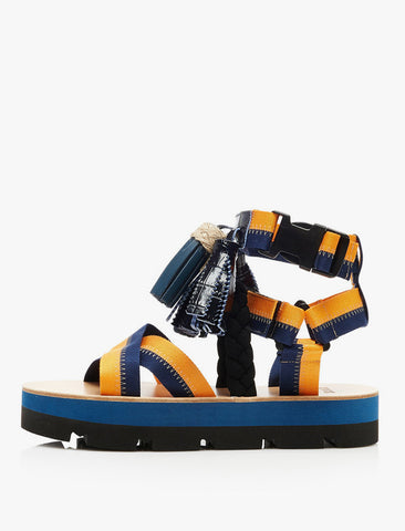 MSGM Multi Tassels Platform Sandals - Orange/Blue
