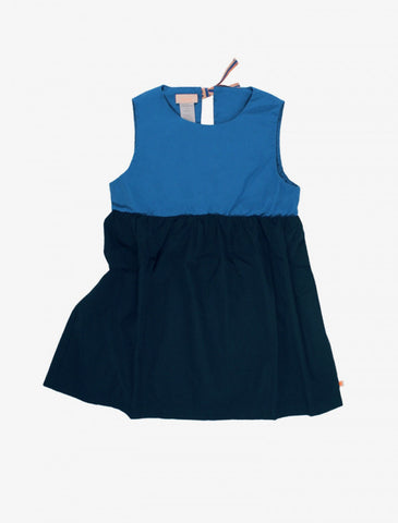 Tiny Cottons Blue Color Block Dress