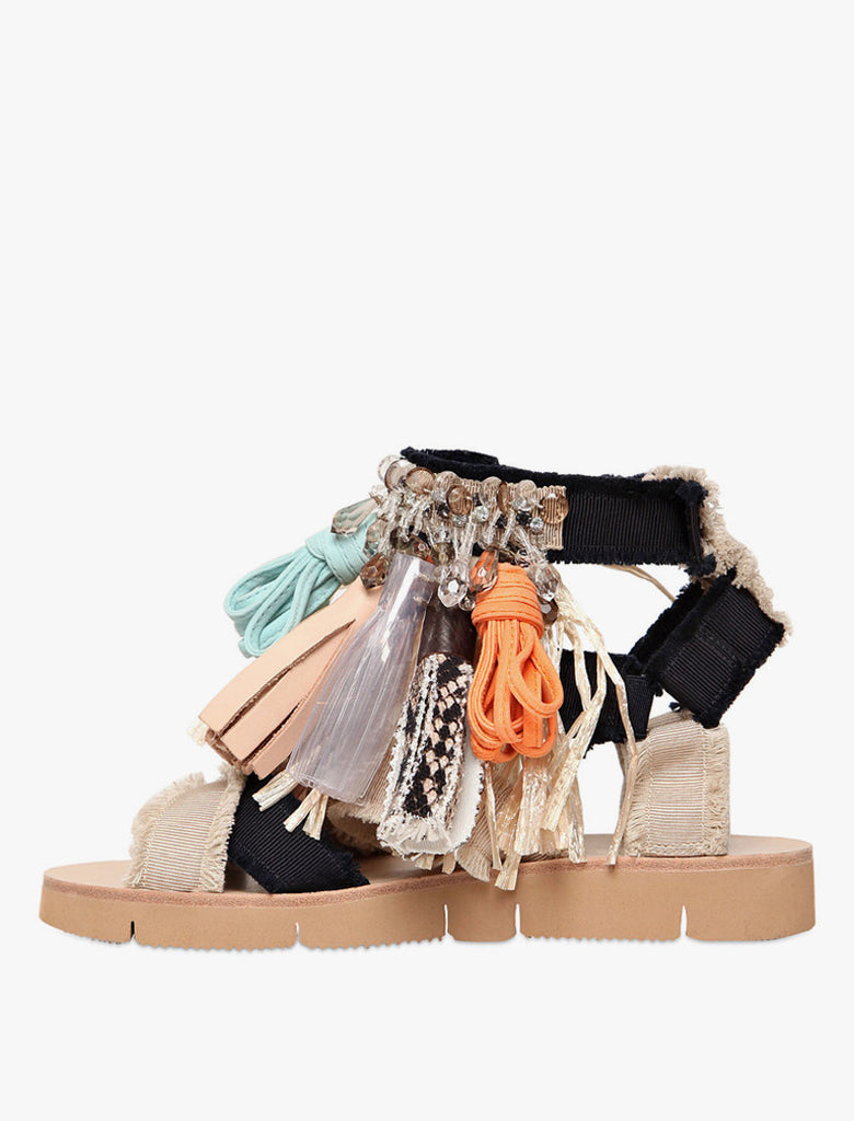 MSGM Fringed Canvas Sandals - Multi