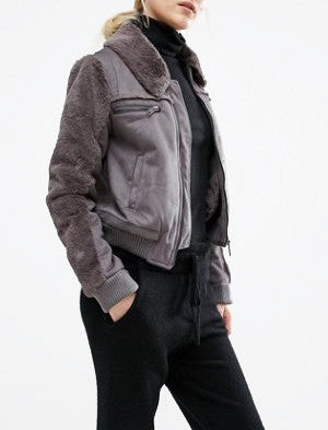 JOA Faux Shearling Cropped Jacket