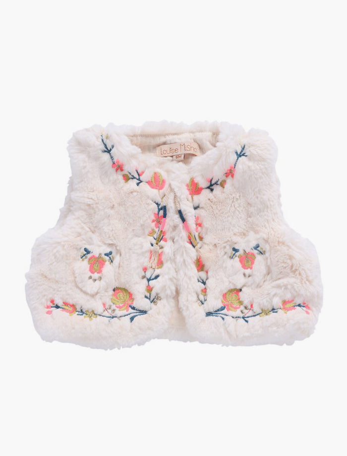 Louise Misha Timour Faux Fur Vest - Cream