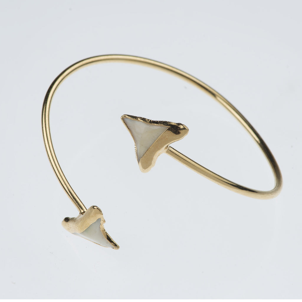 Double Shark Tooth Gold Cuff Bracelet