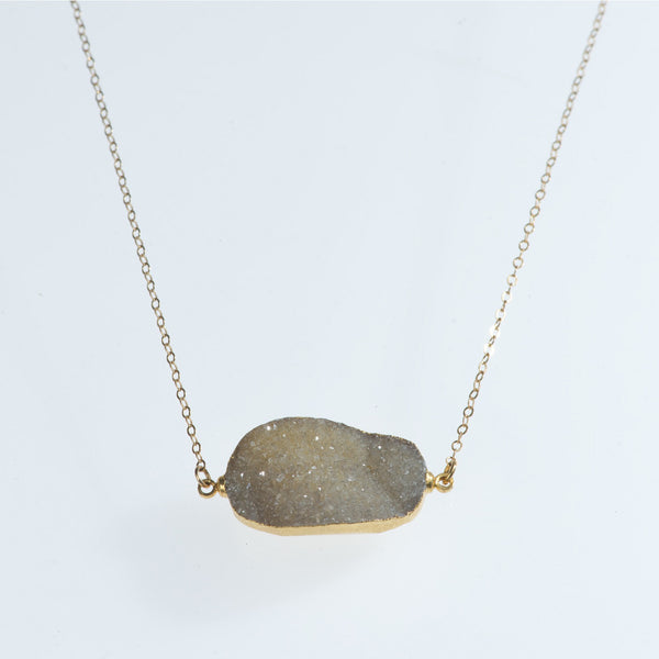 Druzy Quartz Gold Necklace