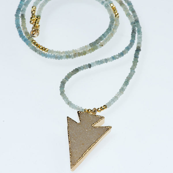 Ombre Amethyst & Agate Druzy Arrow Necklace
