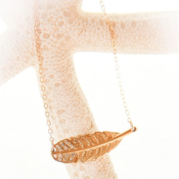 Gold Feather Crystal Pendant Necklace