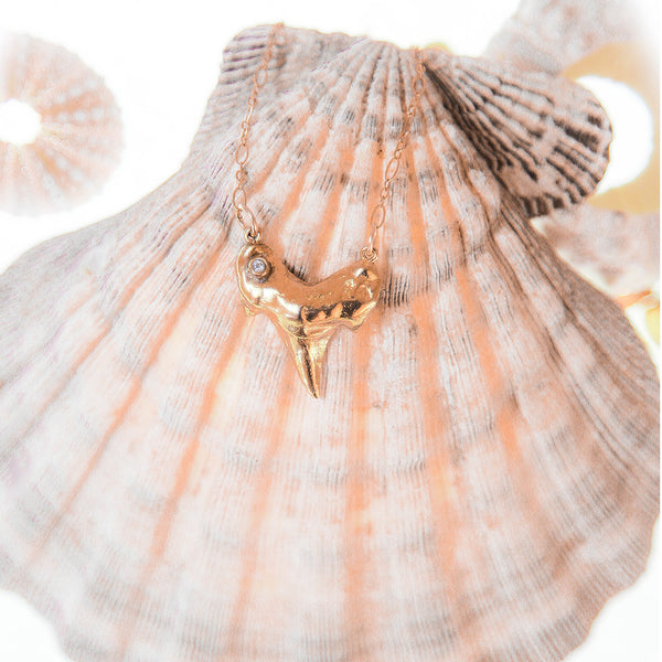 Gold Shark Tooth with White Topaz or Diamond Accent Necklace