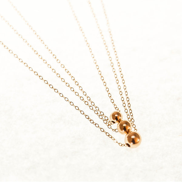 Triple Ball & Chain Gold Necklace