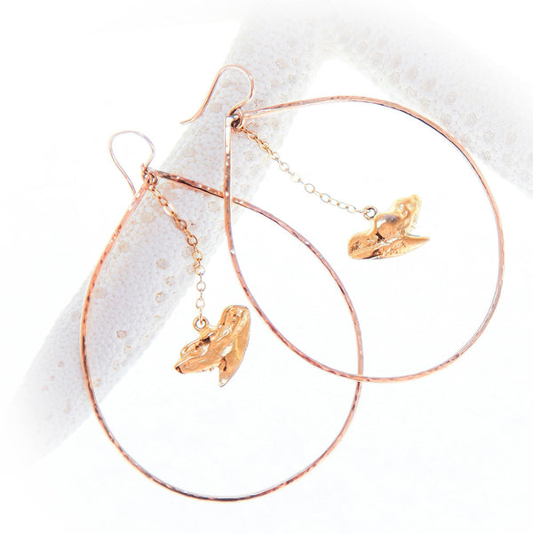 Gold Hoop Earrings with Gold Shark Tooth