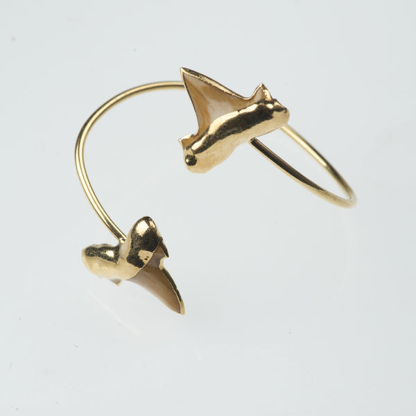 Shark Tooth Gold Cuff Bracelet