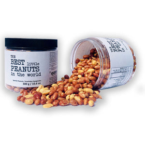 Roasted Spanish Peanuts called The Best little Peanuts in the world in 300 gram jars