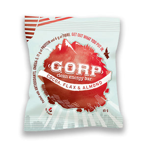 Cocoa Flax & Almond GORP Bar - Subscription Club.  Image shows single 65g bar in package