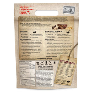 Cocoa Flax & Almond GORP Energy Bar Ready Mix.  1.1kg bag.  Back of bag with instructions.