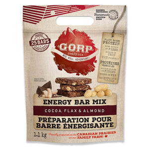 Cocoa, Flax and Almond GORP Clean Energy Bar Ready Mix Bag.  1.1kg bag