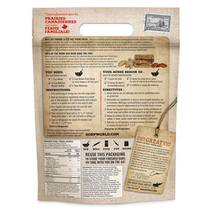 Ginger Snap & Apple GORP Energy Bar Ready Mix.  1.1kg bag.  Back of bag with instructions