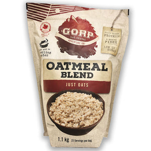Just Oats GORP Oatmeal Blend. In 1.1kg bag.   With 18 servings per bag, 50g servings.  Bag with a bowl of oatmeal, plain oats.