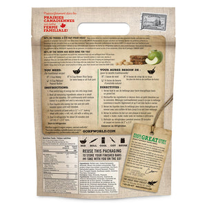 Peanut Butter & Apple GORP Energy Bar Ready Mix back of bag with instructions. 1.1kg bag