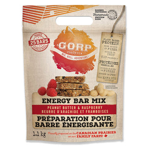GORP Clean Energy Bar Ready Mix bag.  Peanut Butter & Raspberry. 1.1kg bag