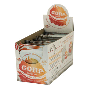 Peanut Butter & Raspberry GORP Clean Energy Bar box of 12-bars.  An open box like you would see at a store, with the bars available to take out. Each bar is 65g.  The colors are orange and yellow to match the bar package.