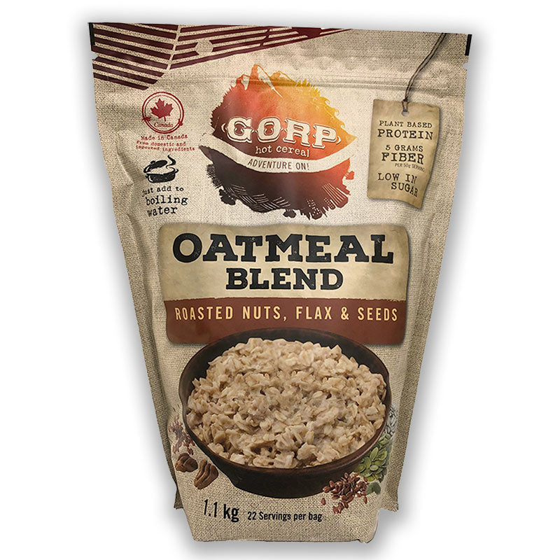 Roasted Nuts, Flax & Seeds GORP Oatmeal Blend.  1.1kg bag with 22 servings per bag.  Manitoba oats with roasted pecans, flax and pumpkin seeds.