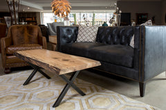 Live edge coffee table in White oak wood, in our Columbus, ohio showroom