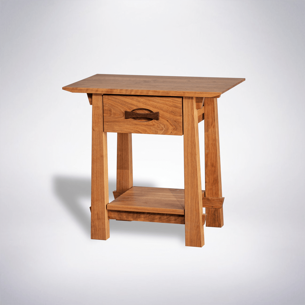 Enso Side Table With Drawer Solid Wood Handmade Organic