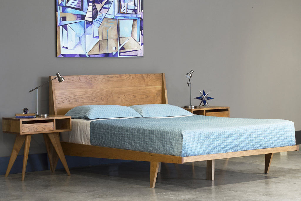 Platform bed mid century solid wood handmade modern - Midcentury modern bedroom furniture ...