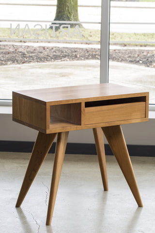 Modern Side Table Solid Wood Handmade Mid Century Modern Bedroom Furniture