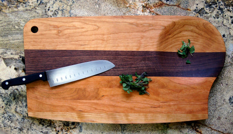 Mixed Wood Cutting Board with Integrated Bowl Serving Tray Large