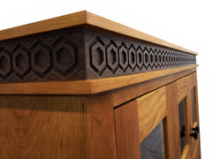 China cabinet walnut inlay detail image, carved pattern