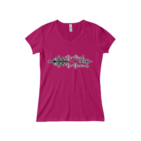 Kind & Generous:  Baby Rib Short Sleeve V-Neck Tee For Ladies