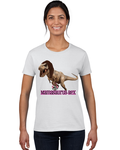 """Mamasaurus Rex"" Heavy Cotton Tee For Ladies - KLH Collection"