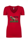 Ladies' Never Argue T-Rex Deep V-Neck Shirt - KLH Collection