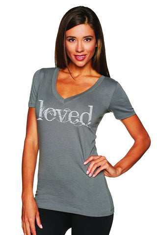 "Ladies' ""Loved"" V Neck Tee - KLH Collection"
