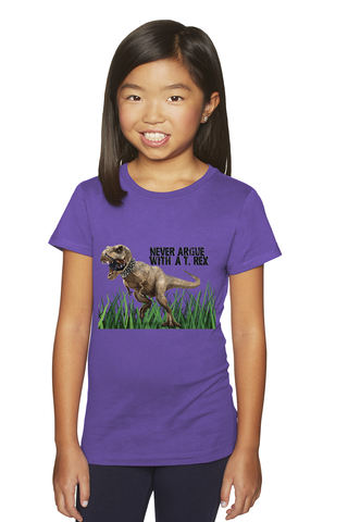 Big Kids' Never Argue T-Rex Princess Tee For Girls - KLH Collection