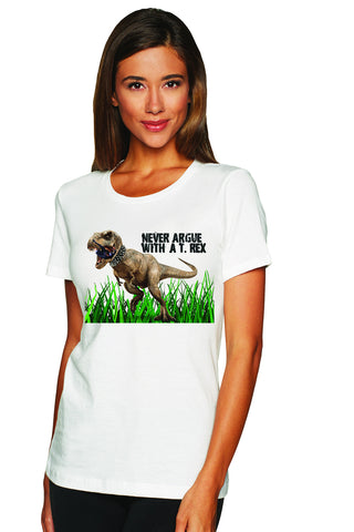 Ladies' Never Argue T-Rex Soft Boyfriend T-Shirt - KLH Collection