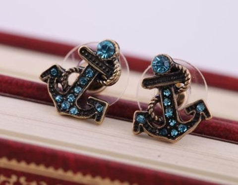 Bronze Stud Anchor Earrings with Blue Rhinestones - KLH Collection