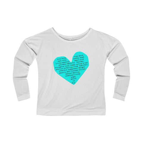 Rough Heart:Terry Long Sleeve Scoopneck T-Shirt For Ladies