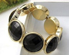 Gold Stretch Bracelet w/black gems - KLH Collection - 1