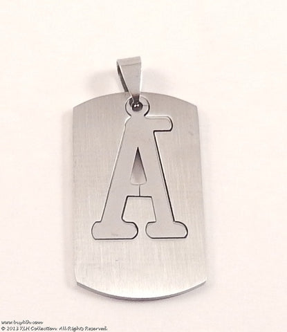 Letter Cut Out Dog Tag Necklace - KLH Collection