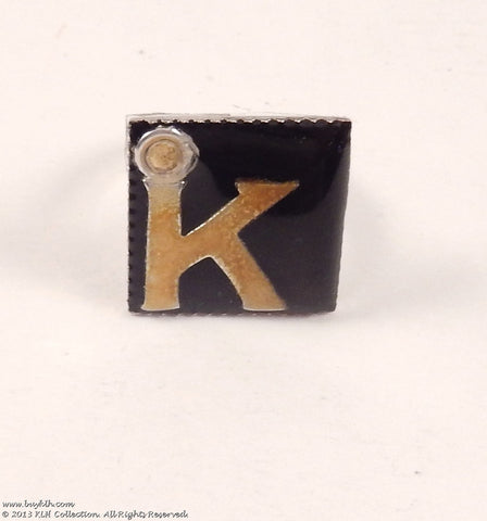 """K"" Adjustable Ring- Glowing - KLH Collection - 1"