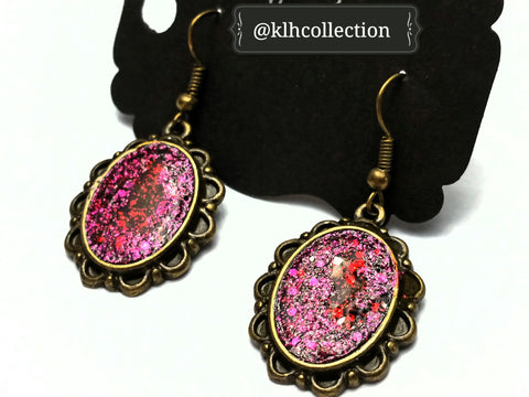 Fuchsia Glitter Earrings - KLH Collection - 1